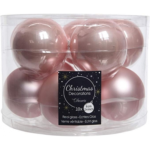Decoris Pack Of 10 Real Glass Christmas Tree Baubles Decoration 6cm Blush Pink