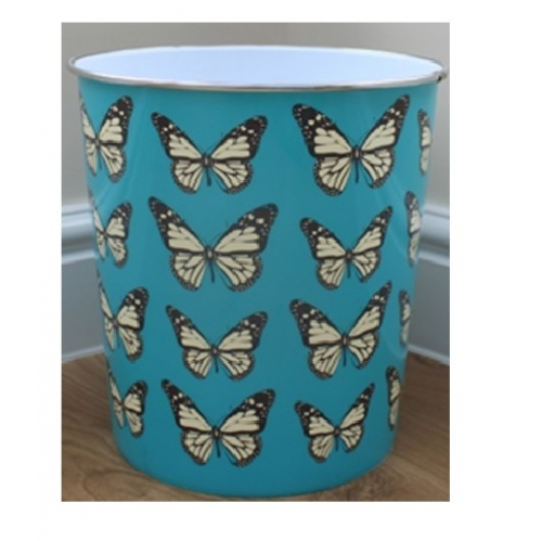 Butterfly Print Waste Paper Bin Plastic Storage Desk Office Bin - Teal