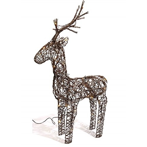 Lumineo 60cm Brown Wicker Light Up LED Reindeer Decoration 48 Warm White LED's