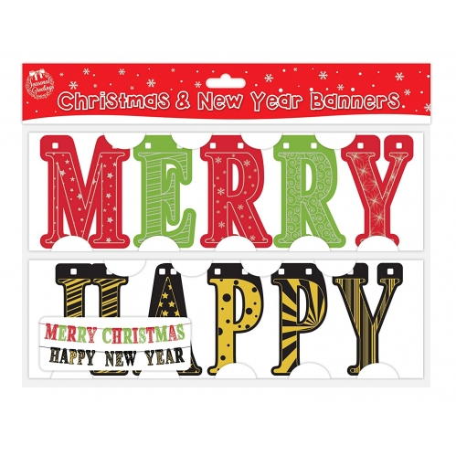 Pack Of 2 Festive Banners - Merry Christmas & Happy New Year Banner Party Banner