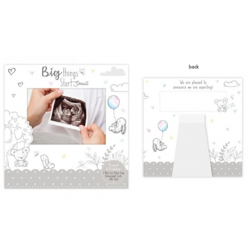 Pack Of 2 Baby Announcement Reveal Cards First Scan Picture Frame Greetings Card