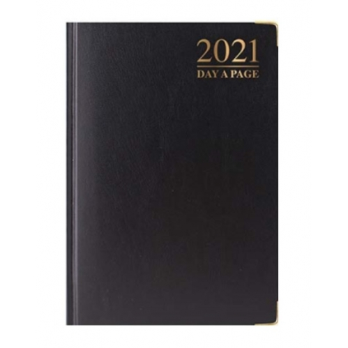 Black A5 2021 Day A Page Padded Cover Diary With Metal Corners Personal Planner