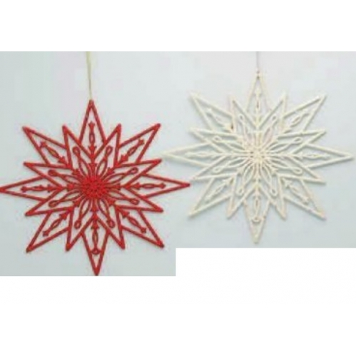 Large Glitter Snowflake Christmas Tree Trim Decorations Red & White
