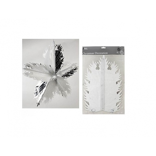 Foil Hanging Christmas Decoration Foil Star - Silver & White 76cm x 13cm Approx