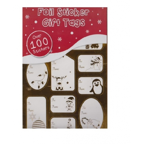 Sticker Book 75 Foil Self Adhesive Christmas Gift Tag Labels Traditional