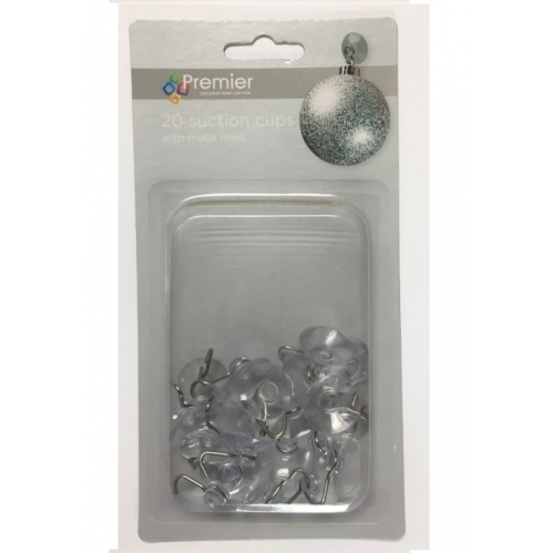 Premier Pack Of 20 Mini 22mm Suction Cups & Metal S Hook Bauble Window Dec Hooks