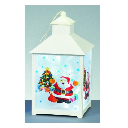 Premier Battery Operated White Wooden LED Christmas Character Lantern - Santa
