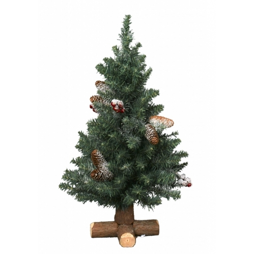 60cm Frosted Sherwood Pine Table Christmas Tree Berries Pine Cones Cross Base