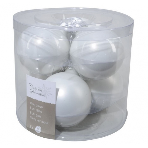 Decoris Pack Of 6 Real Glass Christmas Tree Baubles Decoration 8cm Winter White
