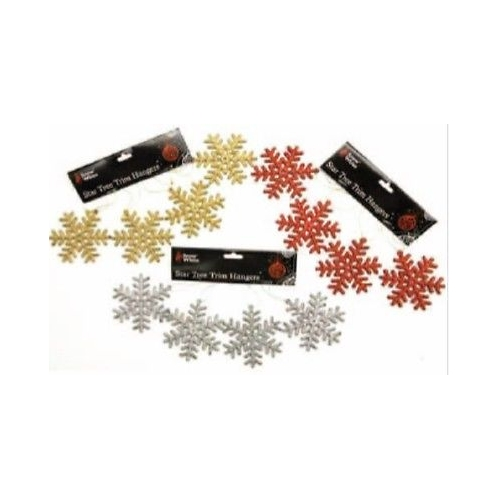 Christmas Glitter Snowflake Trim Hanger Tree Decoration 3 Packs Silver Gold Red