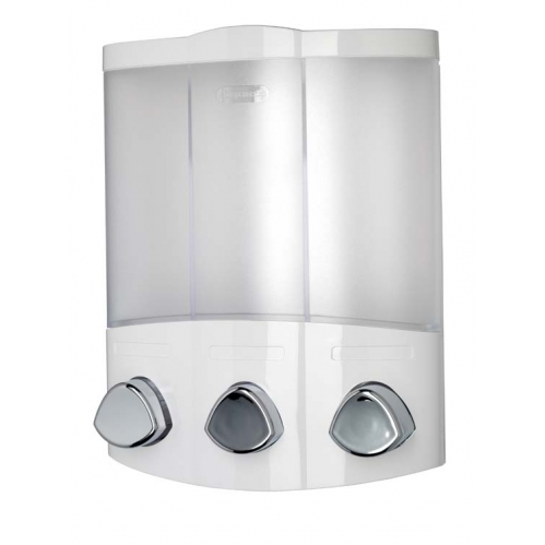 Croydex Euro Trio Compartment Soap Shampoo Shower Bathroom Wall Dispenser