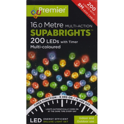 Premier 200 LED Supabright Christmas Timer Lights 16M In Outdoor Multi Coloured