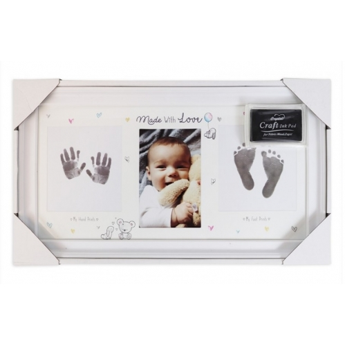 Baby Keepsake Hand Print & Foot Print Photo Fame With Ink Pad Made With Love