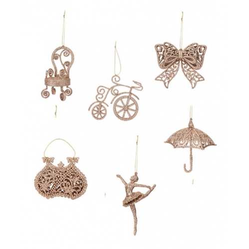 Set Of 6 Rose Gold Vintage Glitter Christmas Tree Decorations Bow Bicycle Dancer