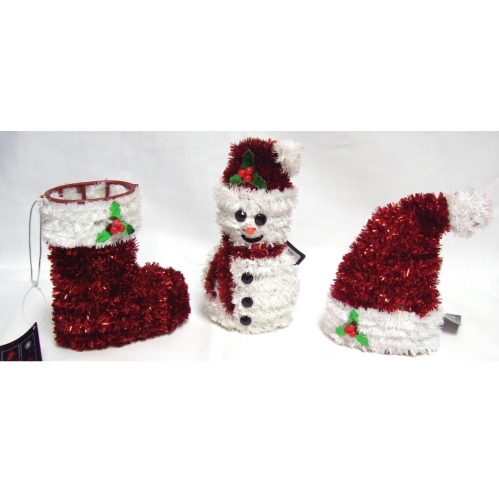 Set Of 3 Standing Hanging Tinsel Christmas Decorations Stocking Hat & Snowman