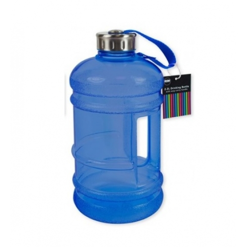 Blue Extra Large Sports Drinking Water Bottle 2.2 Litre With Handle Gym Hiking