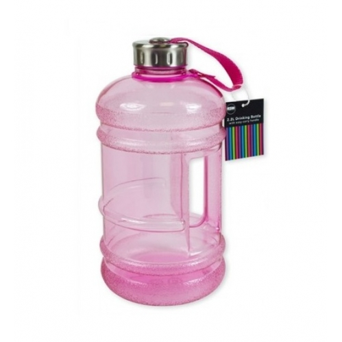 Pink Extra Large Sports Drinking Water Bottle 2.2 Litre With Handle Gym Hiking
