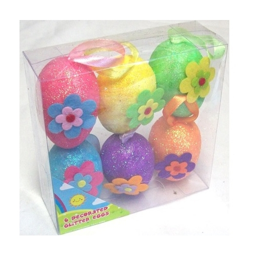 Packs Of 6 Decorative Hanging Bright Foam Glitter Easter Eggs On Ribbon