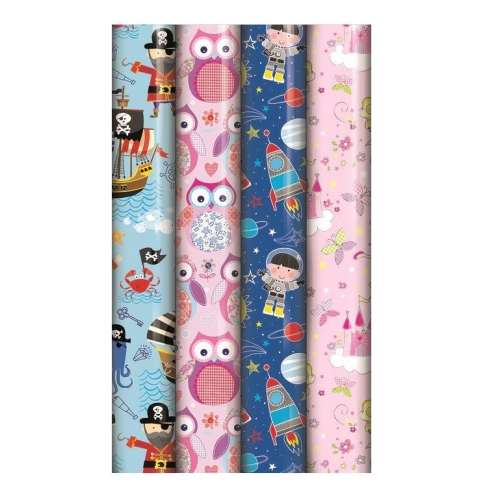 4 Rolls Of Kids Birthday Gift Wrapping Paper 3M x 70cm Owl Fairy Space Ocean