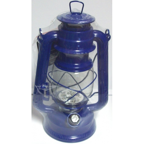 Navy Blue Lumineo Cool White LED Battery Camping Garden Lantern Indoor Outdoor