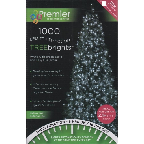 1000 LED Multi Action 7ft Christmas Tree Cluster Lights & Timer - Bright White