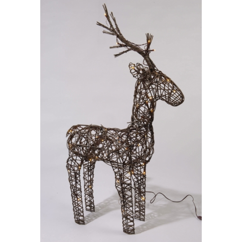 Lumineo 104cm Brown Wicker Light Up LED Reindeer Decoration 72 Warm White LED's