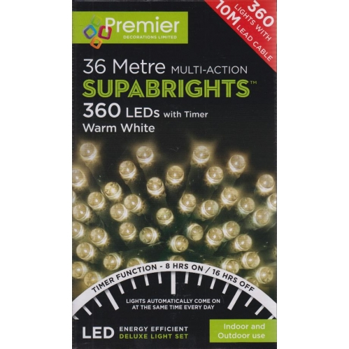 Premier 360 Supabright LED Christmas Lights With Timer 36M Outdoor - Warm White