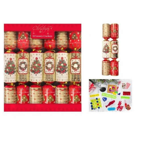 Pack Of 12 Luxury 14 Inch Tableware Dinner Crackers Red Gold Tree & Wreath Tradi