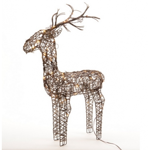 Brown Lumineo 135cm Wicker Light Up LED Reindeer Decoration 96 Warm White LED's