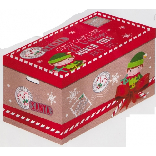 Cardboard Elf Design Christmas Gift Box With Handles 54cm x 37cm x35cm Approx