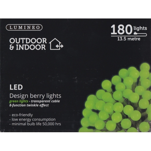 Lumineo Outdoor & Indoor Christmas Berry Lights 180 LED's 8 Function - Green