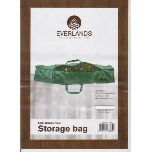 Everlands Green Zip Christmas Tree Storage Bag Fits Up To Most 150cm 5Ft Trees