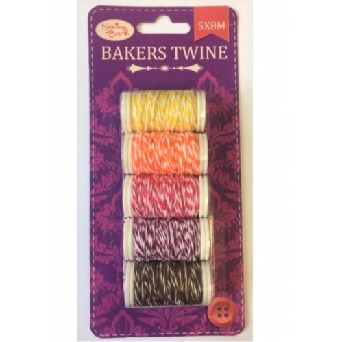 Sewing Box Pack Of 5 Coloured Bakers Twine 5 Reels Of 8M Scrapbook Wrap String