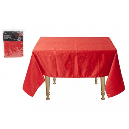 Red Poinsettia Emobossed Christmas Tablecloth Cover Rectangle 132cm x 178cm