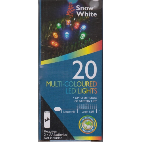 Snow White Battery Powered LED Christmas Fairy Lights 1.9M 20 Lights MultiColour