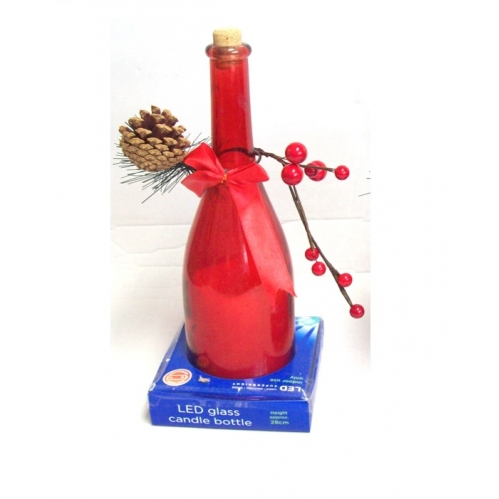 Premier LED Glass Candle Bottle Flickering Candle Decoration 28cm - Red