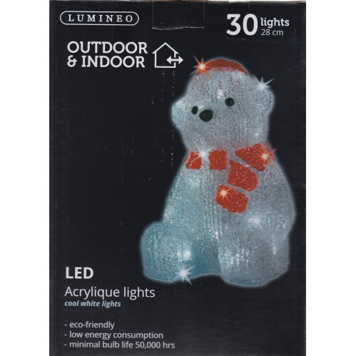 Lumineo Indoor & Outdoor Acrylic Christmas Light Polar Bear With Scarf 28cm