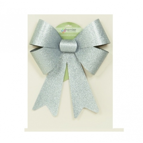 Premier Giant Large Decorative Glitter Gift Bow Decoration 50cm x 36cm - Silver