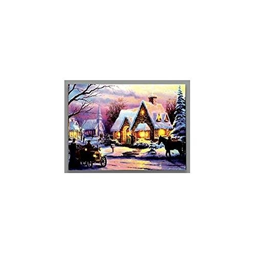 LED Battery Operated Vintage Car Horse Church Christmas Canvas By Premier