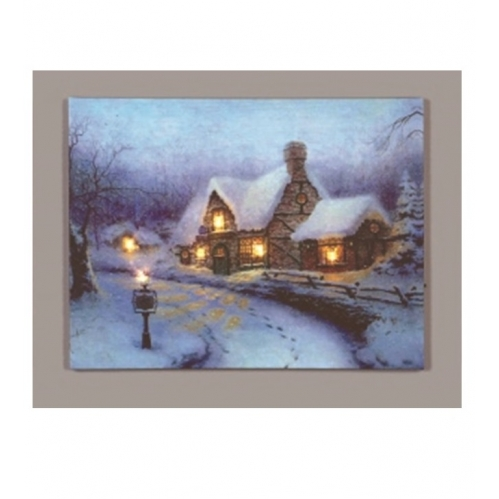 Premier LED Christmas Canvas Battery Operated Light Up Canvas Snowy Gift Shop