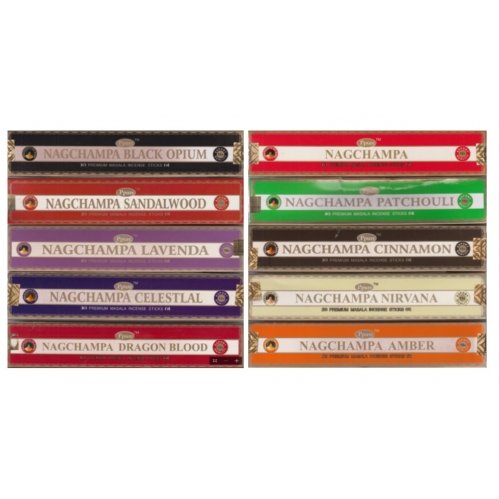 10 x Packs Of Nagchampa Premium Home Incense Sticks Assorted Scents 15g Each