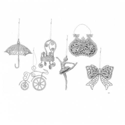 Set Of 6 Silver Glitter Vintage Christmas Tree Hanging Decorations Bow Dancer