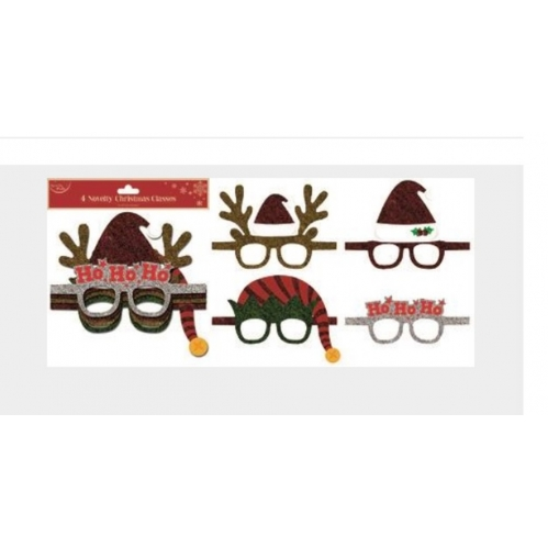 4 x Novelty Glitter Christmas Glasses Photo Booth Party Prop Adult One Size