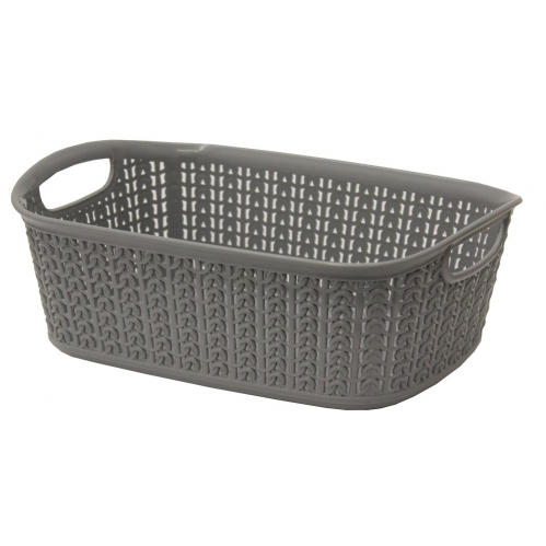 3L Loop Knitted Effect Grey Rectangle Plastic Storage Basket 27cm x 20cm x 10cm