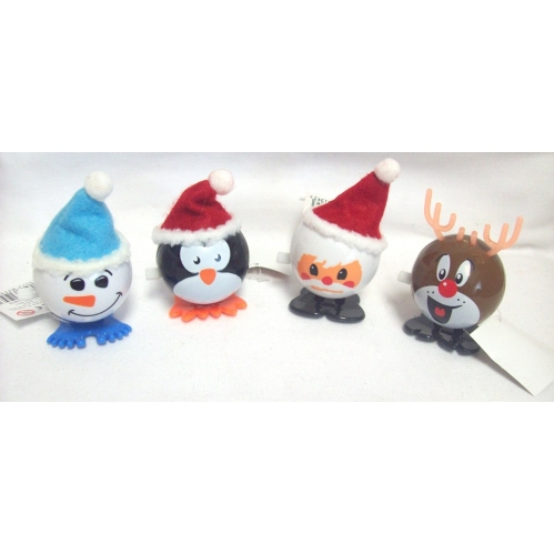 Set Of 4 Novellty Wind Up Jumping Christmas Characters Santa Snowman Reindeer