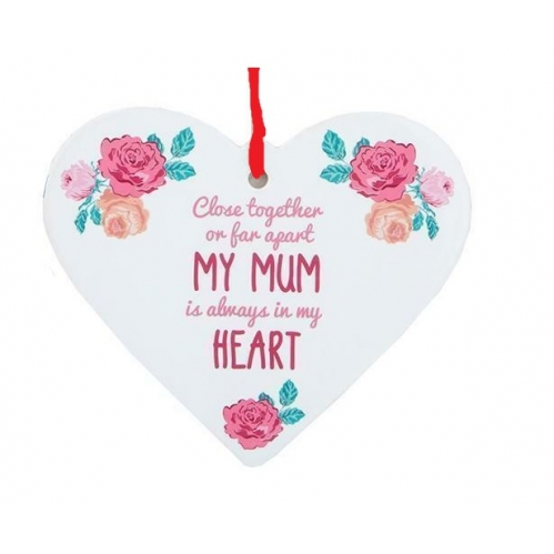 Mothers Day Hanging Heart Plaque Close Together Far Apart Always In My Heart
