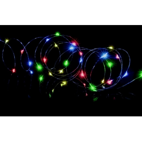 Premier 50 Multi Coloured LED Micro Brights Battery Wire Lights With Timer 2.4M