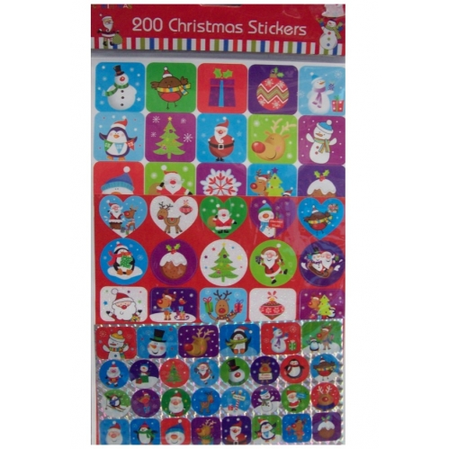 200 Christmas Craft Sticker Sheets Assorted Craft Glitter Foil Cute Character