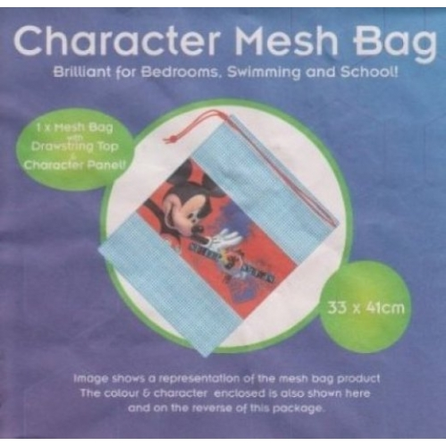 Disney Mickey Mouse Mesh Drawstring Gym Bag PE Gym Swimming Toys 33cm x 41cm