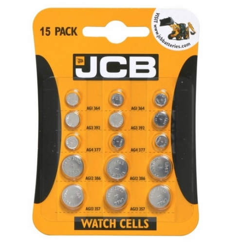 JCB Pack Of 15 Universal Round Cell Watch Battery AG1 AG3 AG4 AG12 AG13 LR
